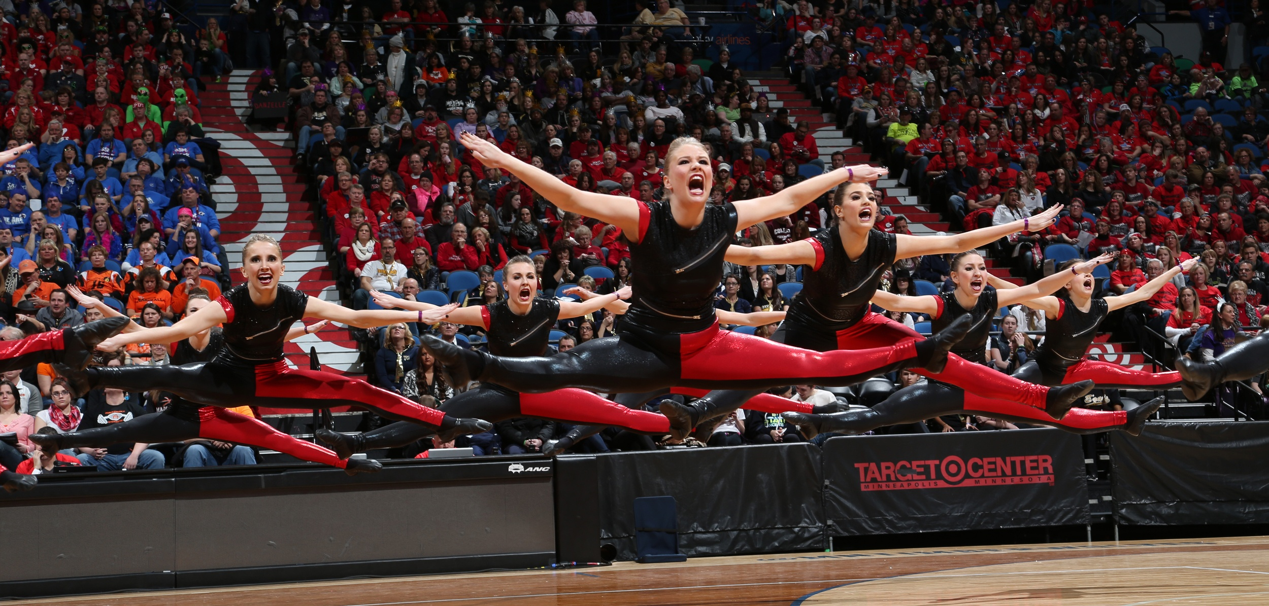 Eden prairie dance team in color change unitard