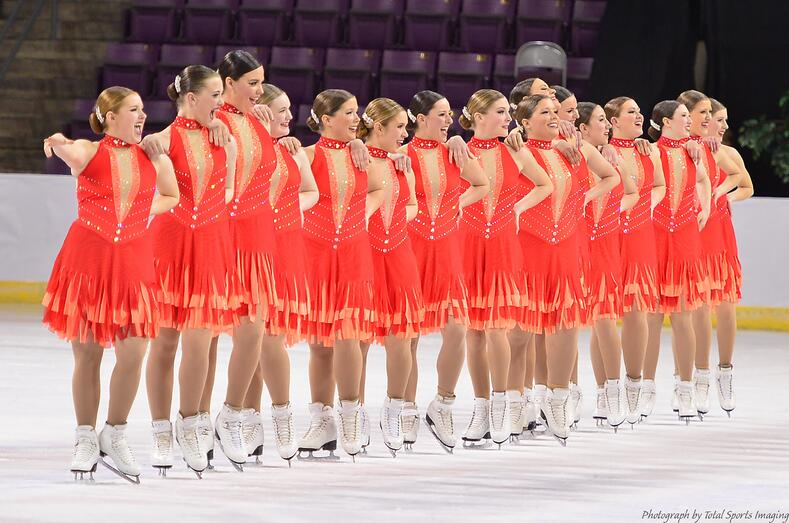 Synchronized skating dress with fringe skirt