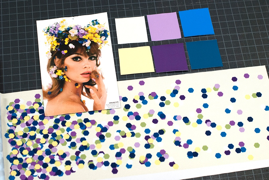 fabric swatches and photo inspiration for custom dance costumes