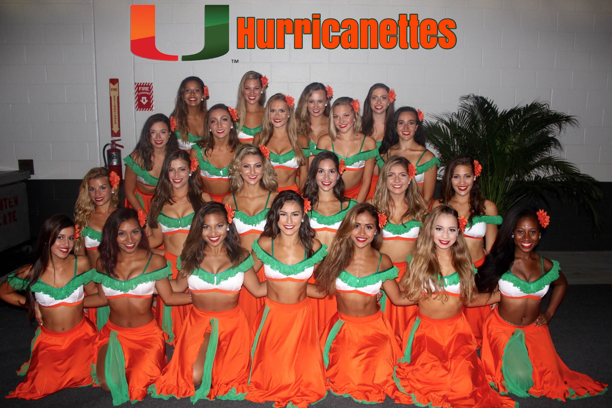 University of Maimi Huricanettes Dance team in a latin themed dance costume