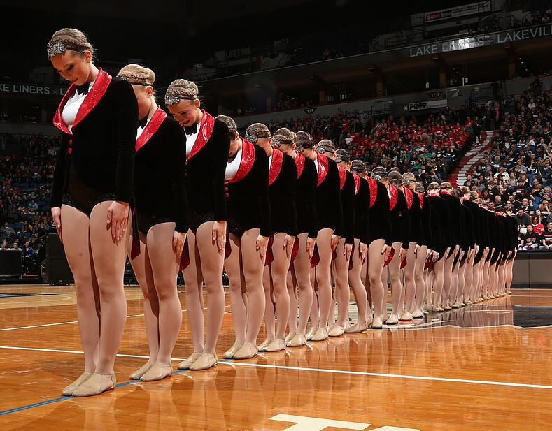 broadway suit and tie theme dance costume by Lakeville North Dance Team
