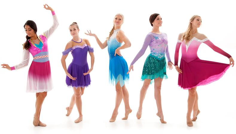princess dance costumes and skating dresses