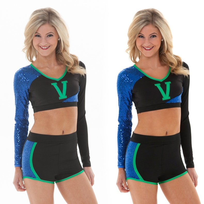 retouching a photo example for dance team photoshoots