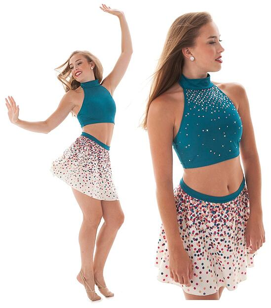 Rhinestone dance top before and after