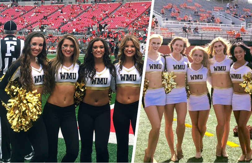 Western Michigan University Dance Team in custom uniforms