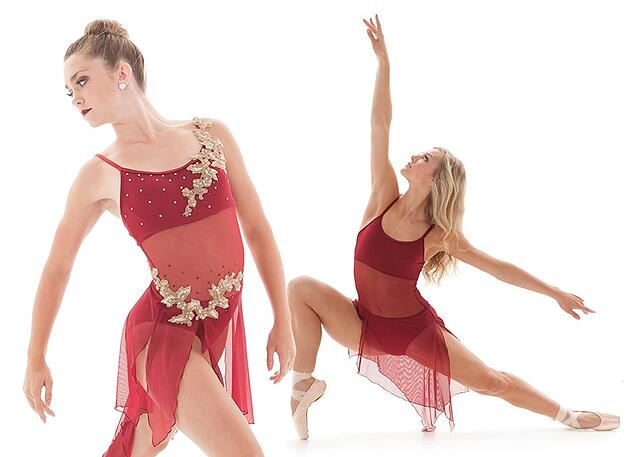 lyrical dance costume with appliques