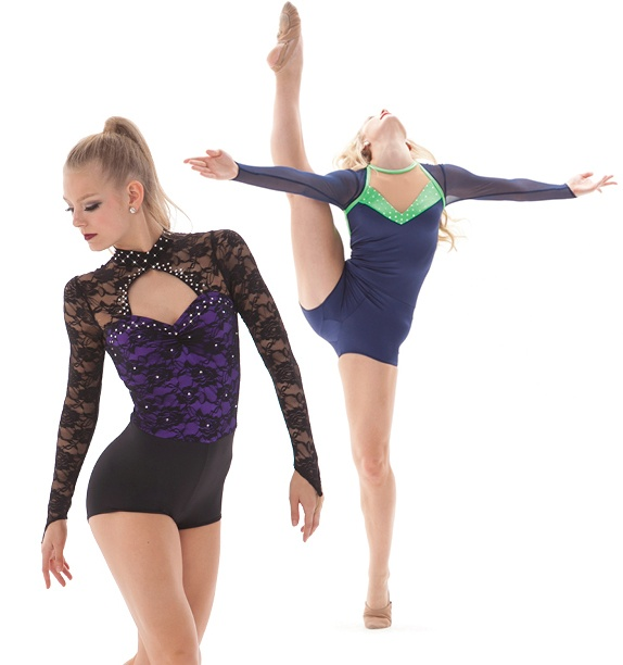 dance costume with nude neckline options