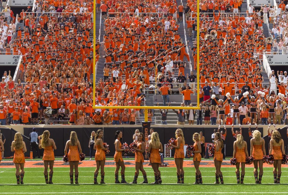 Oklahoma State University Pom Squad in custom cheer uniforms