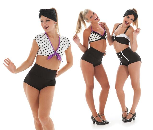Retro bathing beauties theme dance costumes