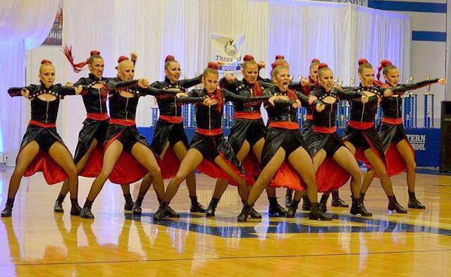 Seton dance team red and black leather hip hop costume