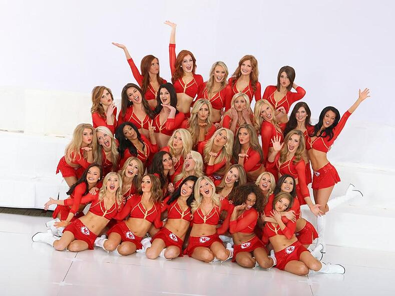 Kansas City Chiefs Cheerleaders new dance costumes new red uniforms