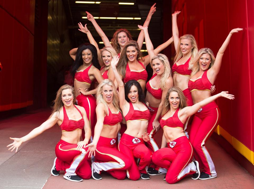 kansas city chiefs cheerleaders red uniform top and pants