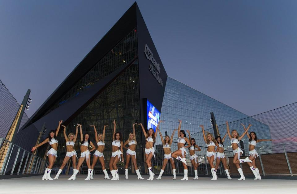 Minnesota Vikings Cheerleaders in front of US Bank Stadium