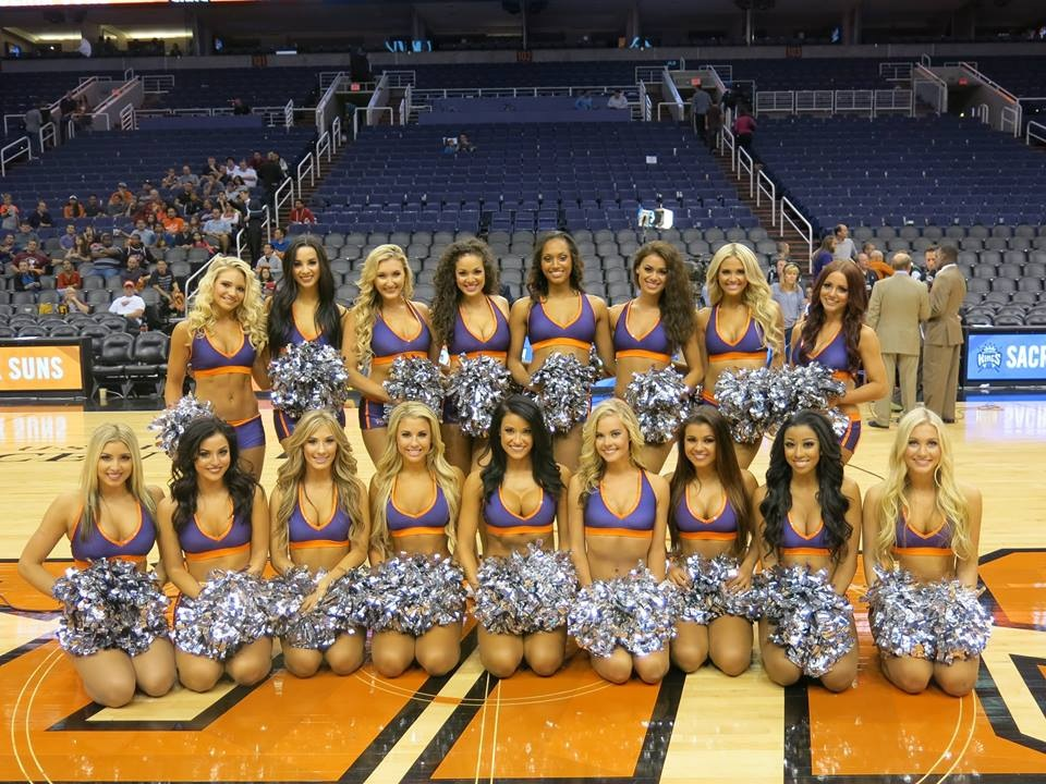 Phoenix Suns Dancers 2014 2015, The Line Up, New uniforms, purple and orange, sublimated