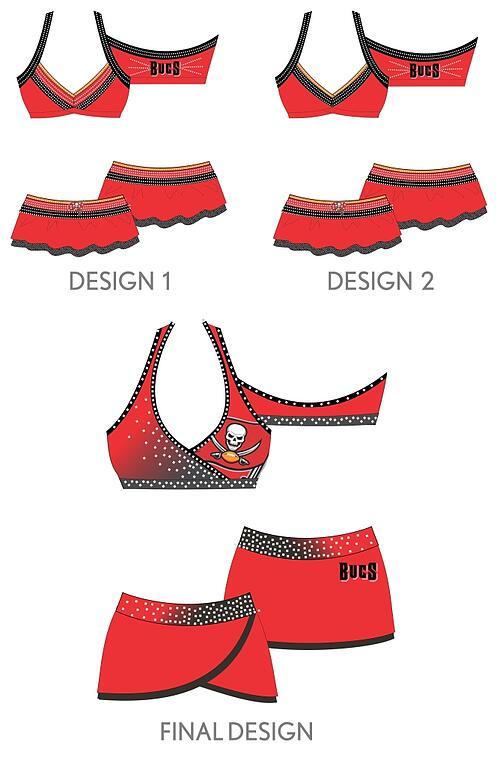 The Line Up - Tampa Bay Buccaneer Cheerleaders Costume Designs