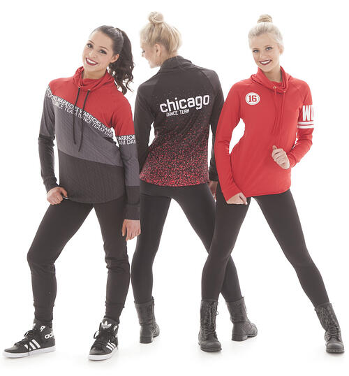 Pathway Pullover Vinyl Letters, Pathway Diagonal Pullover, Pathway Embers Pullover, customizable sweatshirts and jackets for dance teams