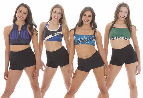 crop tops with team names and lettering, customize with team colors and logo