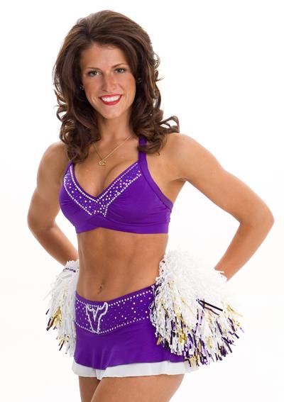 vikings cheerleader in violet costumes