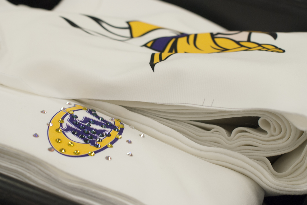 Close up Minnesota Vikings Cheerleaders winter 2014 2015 uniforms The Line Up sublimation and rhinestones