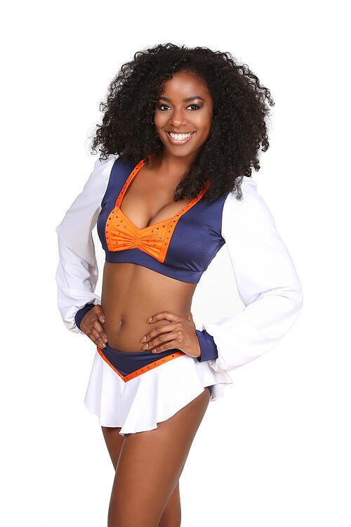 Omaha Mammoth Cheerleader , The Line Up, new uniforms, FXL cheerleader Te'Ara