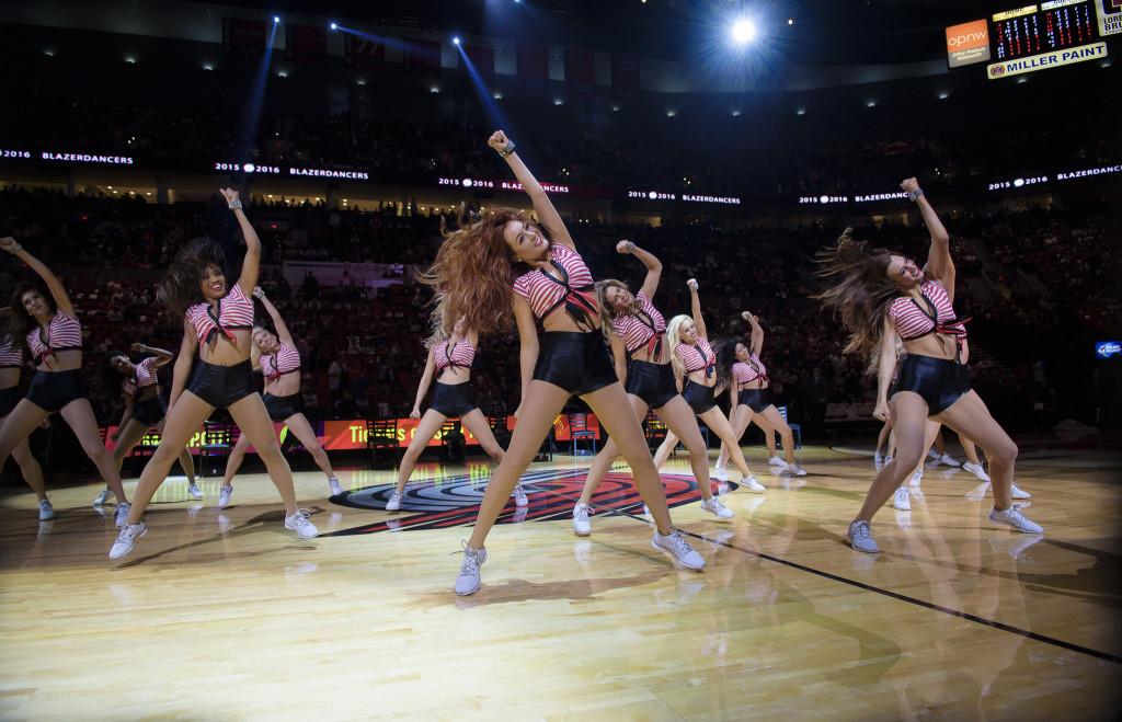 Portland Trailblazers retro stripe top uniforms, 2015, NBA dancers, The Line Up