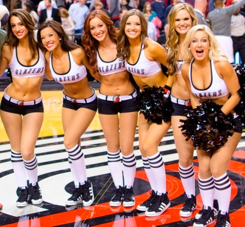 Portland Blazers Dancers, Uniforms, The Line Up, white sporty uniform with black shorts