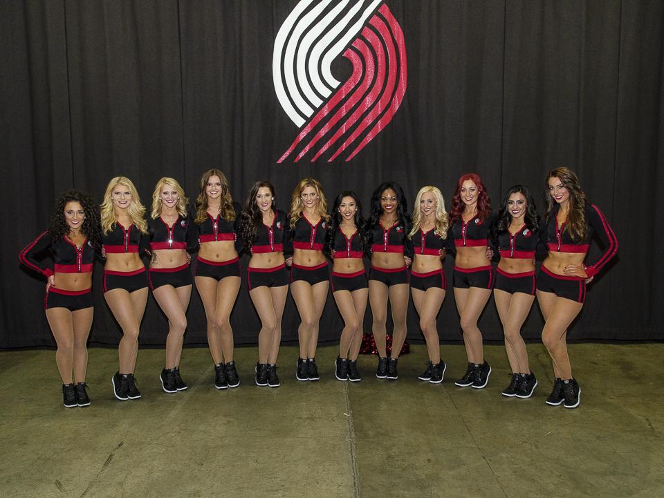 Portland Blazers Dancers, Uniforms, The Line Up, black sporty uniform with hood