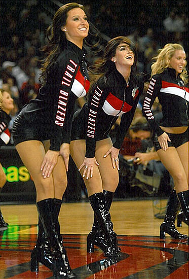 Portland Blazers Dancers, Uniforms, The Line Up, black biketard