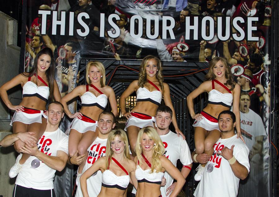 Portland Trailblazers Stunt Team, Uniforms, The Line Up, white asymmetrical uniform with red strap