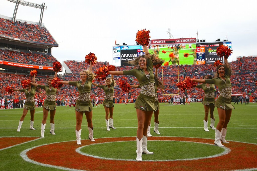 Denver Broncos Cheerleaders military outfits, 2015, The Line Up