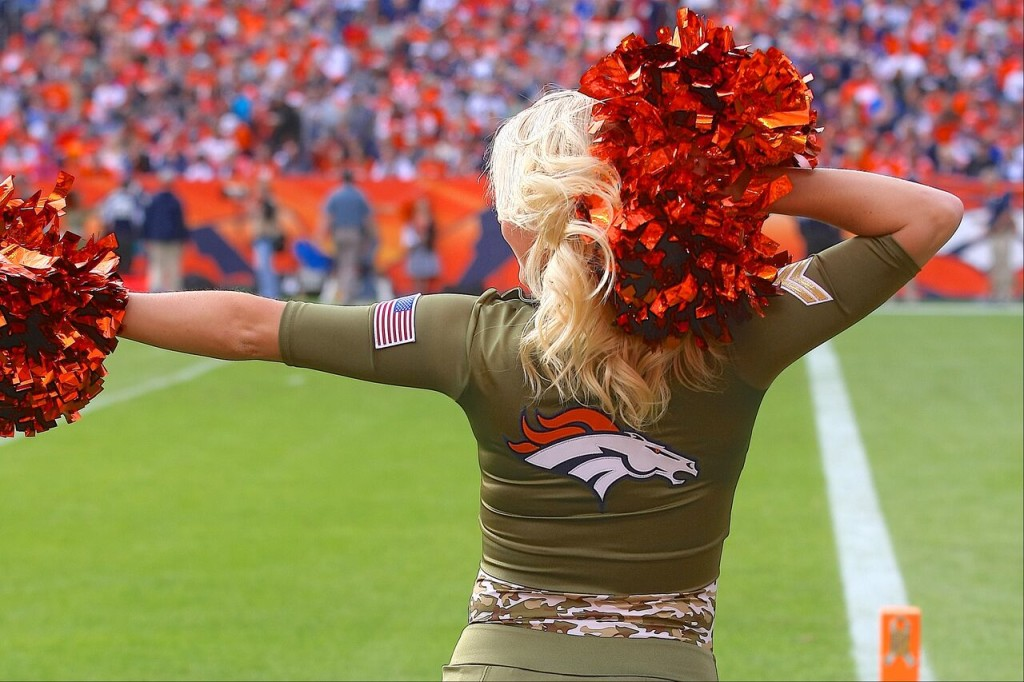 Denver Broncos Cheerleaders military outfits for 2015 created by The Line Up
