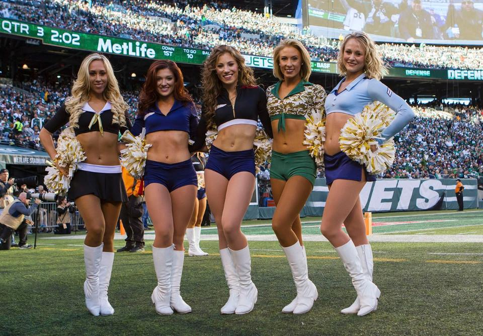New York Jets Flight Crew Cheerleaders military outfits for 2015 created by The Line Up