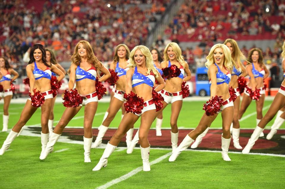 Arizona Cardinals Cheerleaders military outfits red, white, and blue for 2015 created by The Line Up