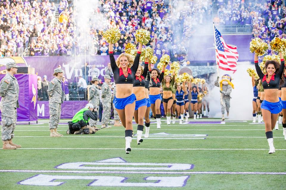 Minnesota Vikings Cheerleaders military outfits created by The Line Up 2015