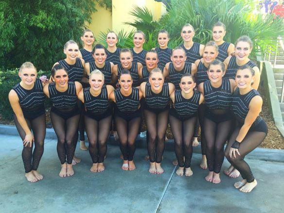 University of St Thomas Dance team black costume, jazz, 2016 Nationals