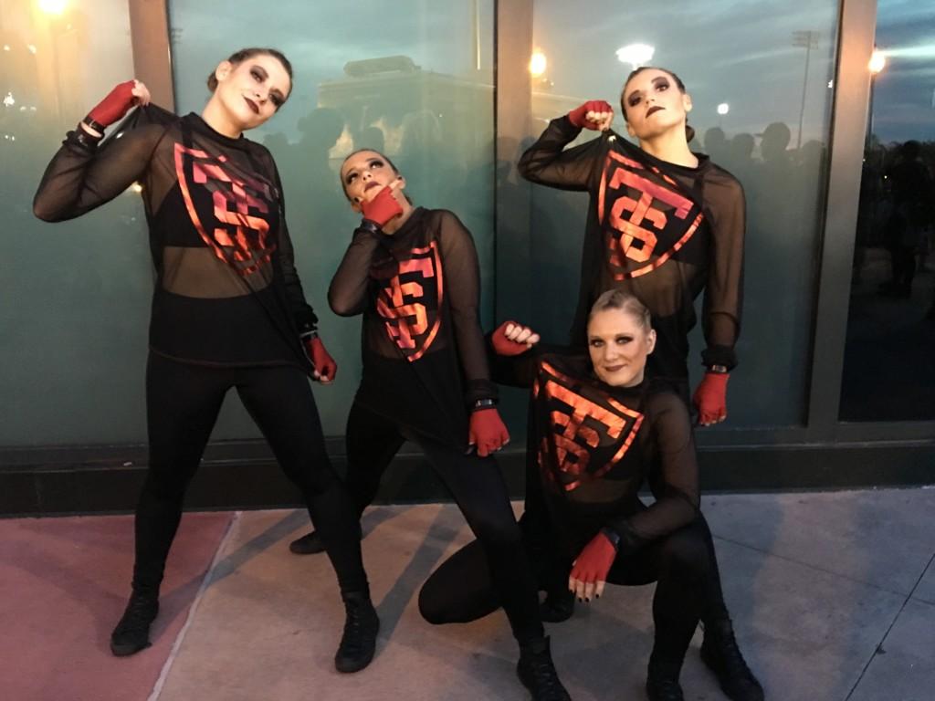 University of St. Thomas 2016 Hip Hop costume, black mesh shirt and leggings