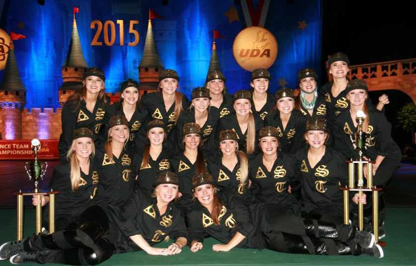 University of St. Thomas dance team hip hop costume 2015 black and gold