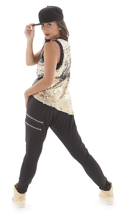 hip hop dance costume, harem pants and sequin tank