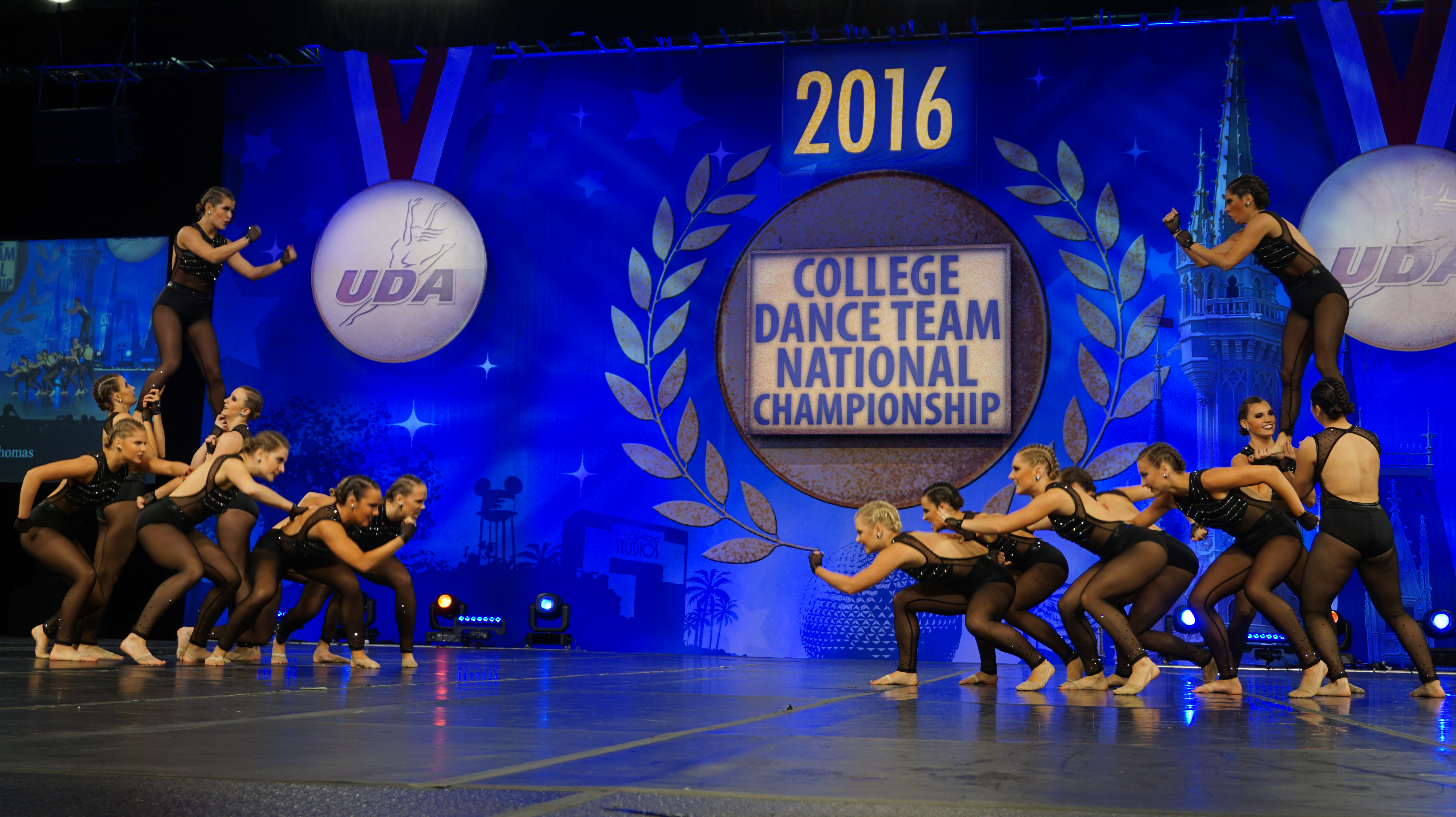fighters, University of S. Thomas Dance team jazz costume, Ronda Rousey, Black edgy costume, low back , crop top and briefs