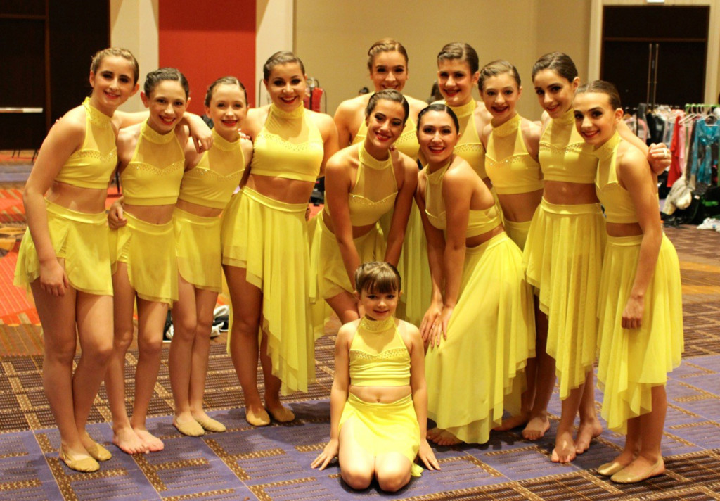 all about dance yellow dance costume, two piece