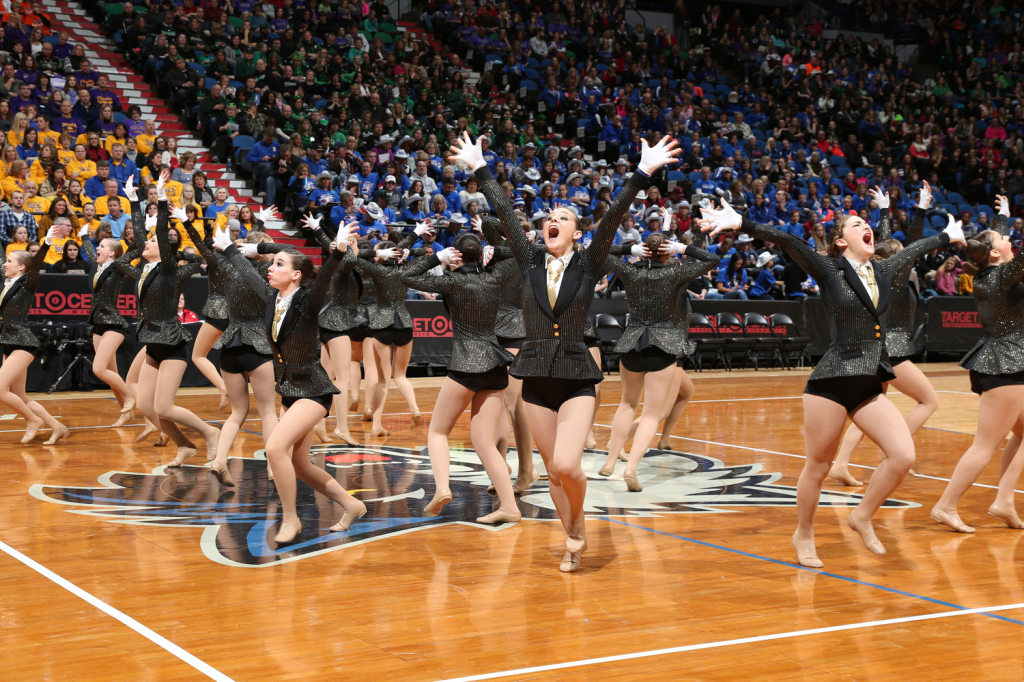 Totino Grace E'gals Dance team, 2014 2015, suit and tie, High Kick, The Line Up