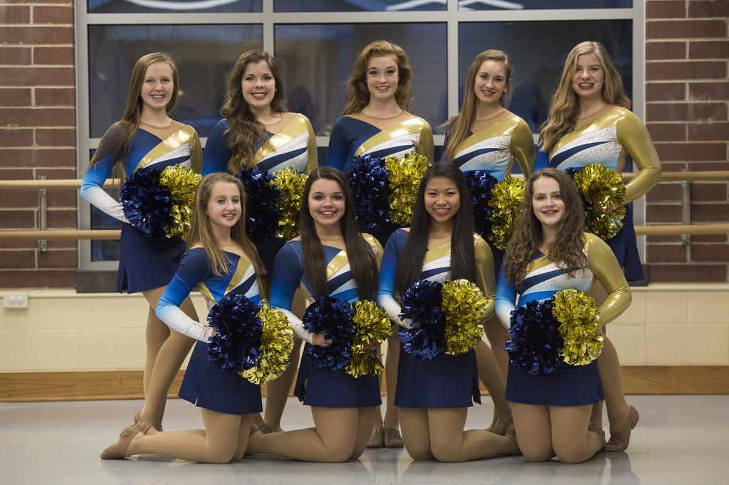 Aquinas HS Dance Team, The Line Up, Custom Gold and Blue pom costumes