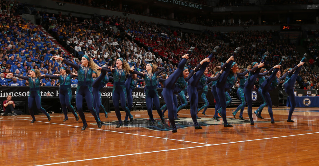 Totino Grace Kick blue and turquoise unitard, 2016 costume, The Line Up