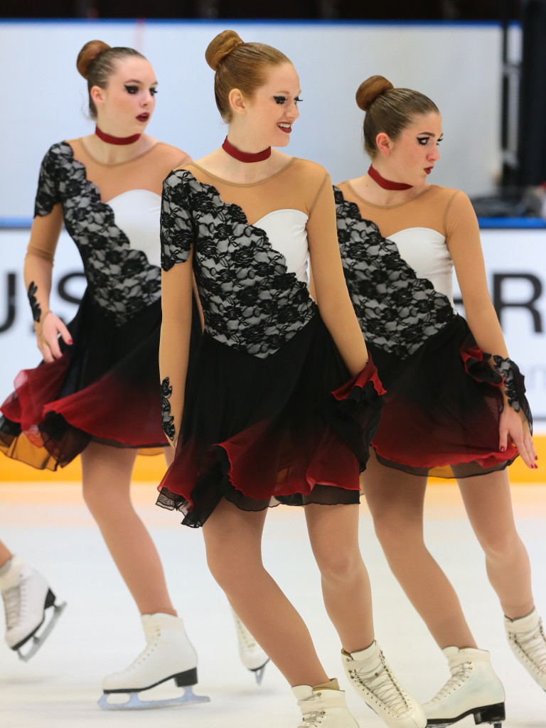 St. Louis Synergy Novice black and red nationals synchronized skating dress 2016