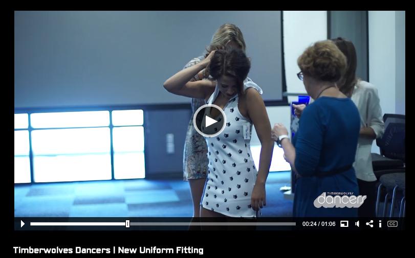 Minnesota Timberwolves Dancers, new uniforms, 2015-2016, small logo dress, The Line Up, dress with hood