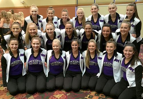 University of St. Thomas Dance team in custom Warm Ups by The Line Up 2015