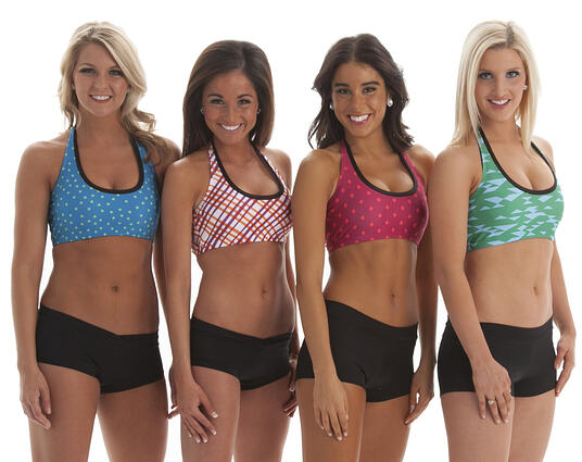The Line Up Bra Tops with Dye sublimation prints