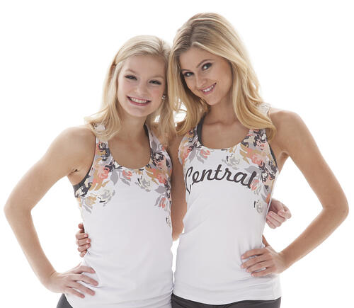 The Line Up tanks with dye sublimation floral pattern