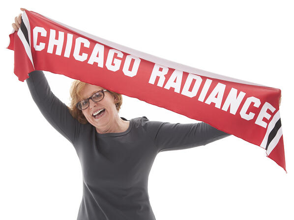 The Line Up scarf with dye sublimation lettering