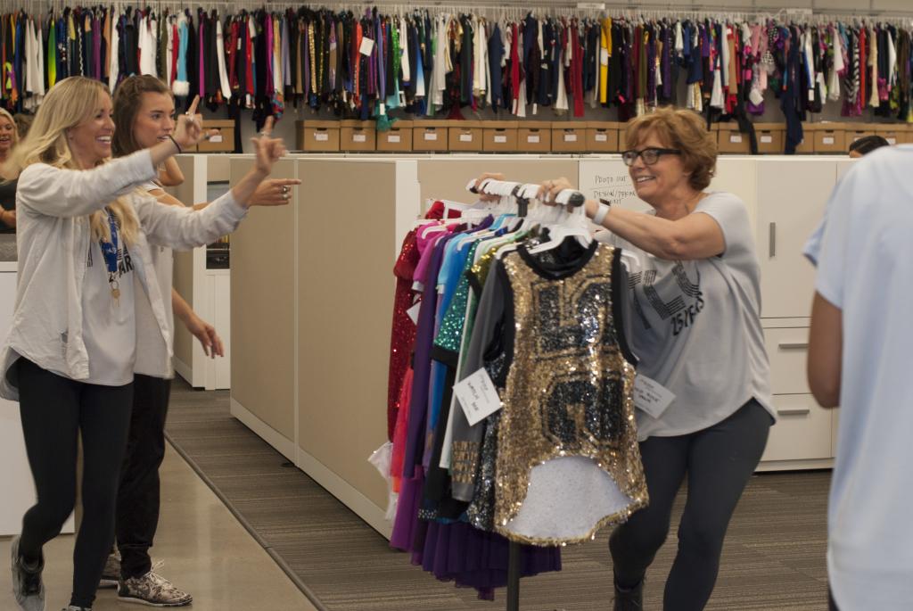 The Line Up video shoot, garment rack, Deb Erickson